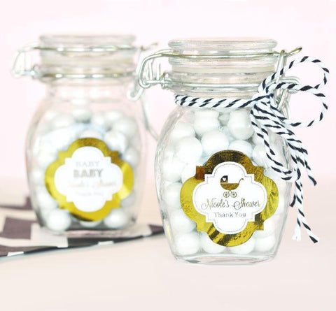 Metallic Foil Personalized Glass Jar with Swing Top Lid - Baby SMALL-Jubilee Favors