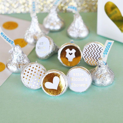 Metallic Foil Personalized Hershey's Kisses Labels Trio (Set of 108) - Baby-Jubilee Favors