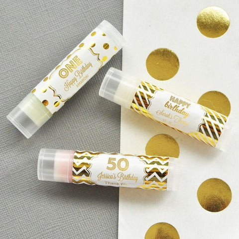 Metallic Foil Personalized Lip Balm Tubes - Birthday-Jubilee Favors