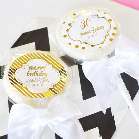 Metallic Foil Personalized Lollipop Favors - Birthday-Jubilee Favors