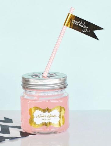 Metallic Foil Personalized Mason Jar Drinking Glasses with Flower Cut Lids - Baby-Jubilee Favors