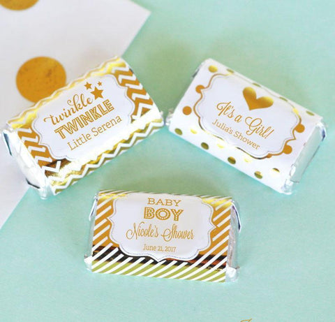 Metallic Foil Personalized Mini Candy Bar Wrappers - Baby-Jubilee Favors