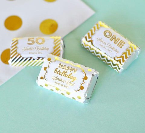 Metallic Foil Personalized Mini Candy Bar Wrappers - Birthday-Jubilee Favors