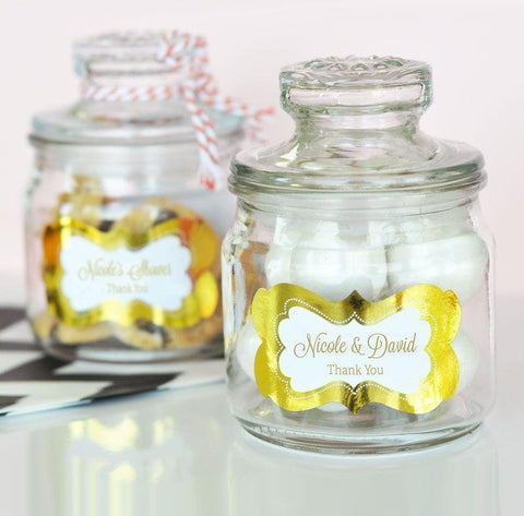 Metallic Foil Personalized Mini Cookie Jars - Wedding-Jubilee Favors
