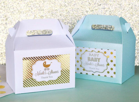 Metallic Foil Personalized Mini Gable Boxes (set of 12) - Baby-Jubilee Favors
