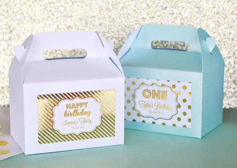 Metallic Foil Personalized Mini Gable Boxes (set of 12) - Birthday-Jubilee Favors