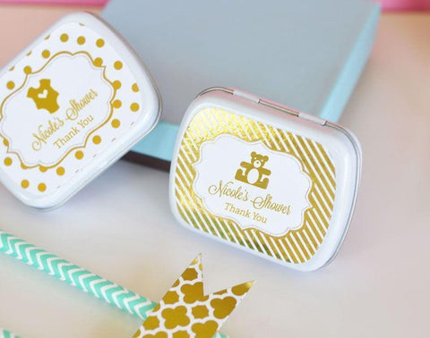 Metallic Foil Personalized Mint Tins - Baby-Jubilee Favors