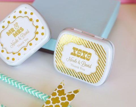 Metallic Foil Personalized Mint Tins - Wedding-Jubilee Favors