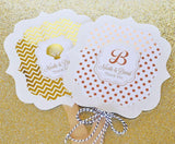 Metallic Foil Personalized Paddle Fans - Wedding-Jubilee Favors
