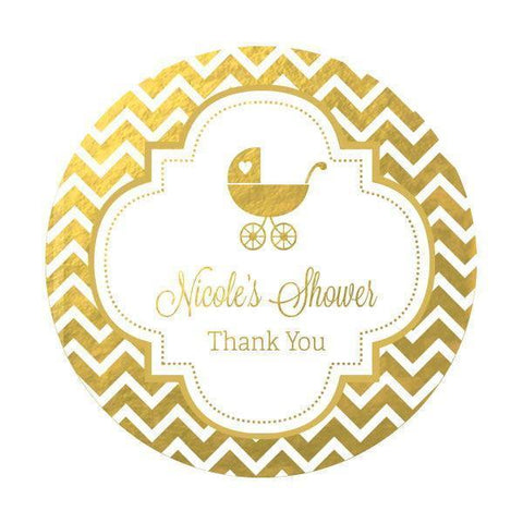 Metallic Foil Personalized Round Favor Labels - Baby-Jubilee Favors