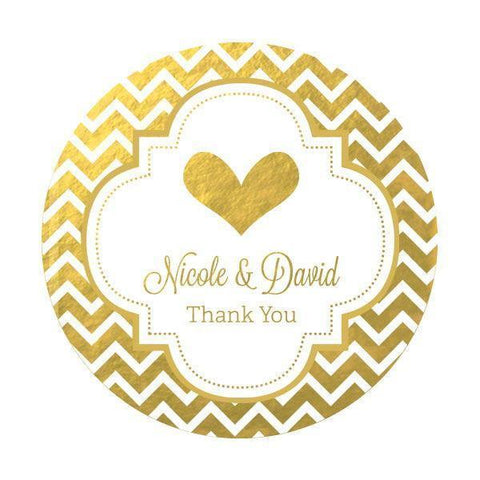 Metallic Foil Personalized Round Favor Labels - Wedding-Jubilee Favors