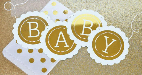Metallic Foil Personalized Scallop Banner - Baby-Jubilee Favors