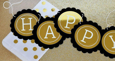 Metallic Foil Personalized Scallop Banner - Birthday-Jubilee Favors