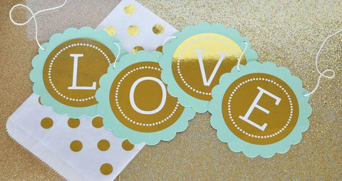 Metallic Foil Personalized Scallop Banner - Wedding-Jubilee Favors