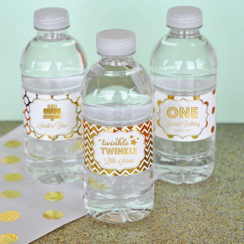 Metallic Foil Personalized Water Bottle Labels - Birthday-Jubilee Favors