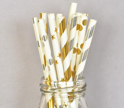 Metallic Foil Straws (set of 25) for $ 4.49 at Jubilee Favors