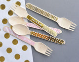 Metallic Foil Wooden Utensils (set of 24)-Jubilee Favors