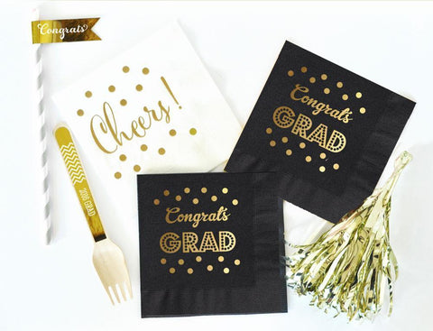 Metallic Gold and Black Graduation Napkins (set of 50)-Jubilee Favors