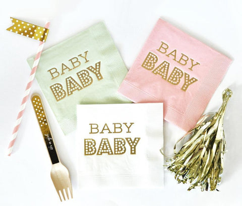 Metallic Gold BABY Napkins (set of 50)-Jubilee Favors
