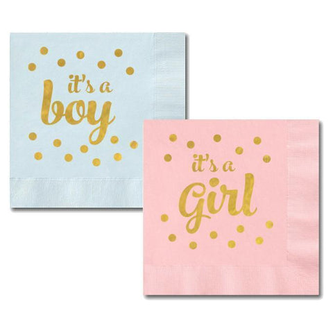 "Metallic Gold ""It's A Boy/Girl"" Napkins (set of 50)-Jubilee Favors"