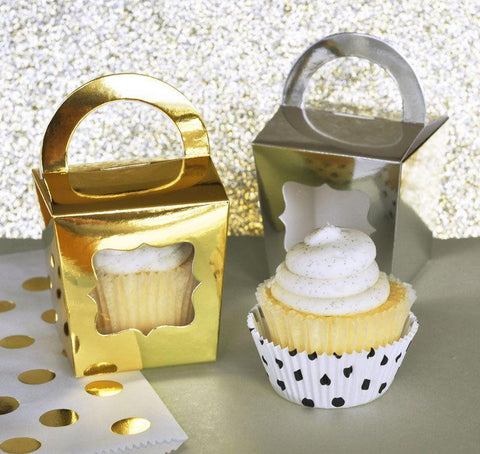 Metallic Gold & Silver Cupcake Totes (sets of 12)-Jubilee Favors