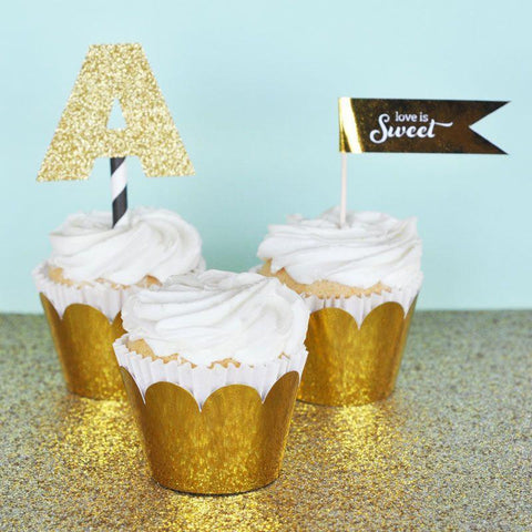 Metallic Gold & Silver Foil Cupcake Wrappers (Set of 12)-Jubilee Favors