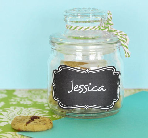 Mini Cookie Jars with Vinyl Chalkboard Labels-Jubilee Favors