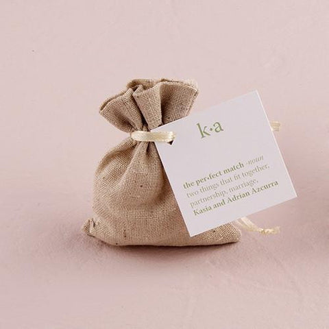 Mini Linen Drawstring Pouch (set of 12)-Jubilee Favors