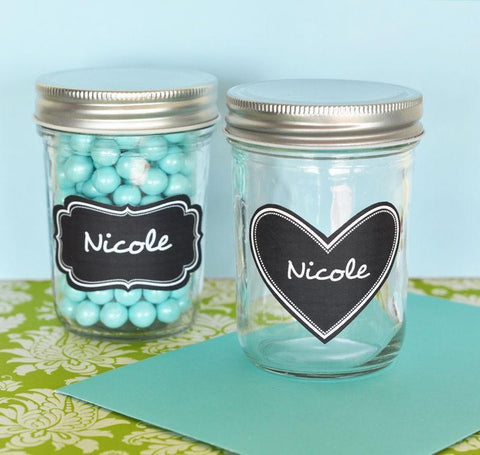 Mini Mason Jars with Vinyl Chalkboard Labels-Jubilee Favors