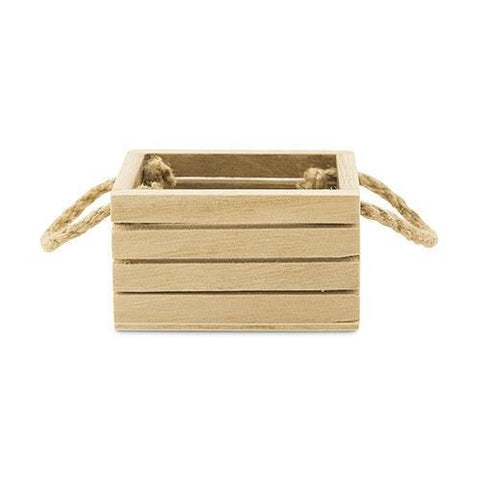Mini Wooden Crate With Jute Handles-Jubilee Favors