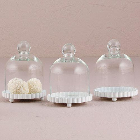 Miniature Glass Bell Jar With White Fluted Base (set of 4)-Jubilee Favors