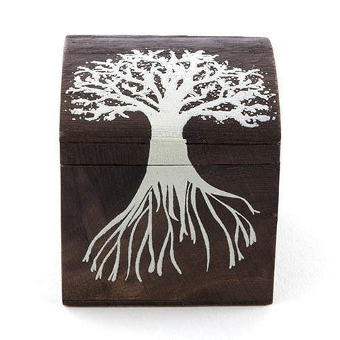 "Miniature Wooden Box With Lid - Exclusive ""Tree Design"" (Set of 6)-Jubilee Favors"