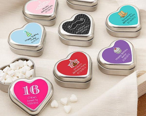 """Mint For You"" Brushed-Metal Heart-Shaped Mint Tin - Birthday-Jubilee Favors"