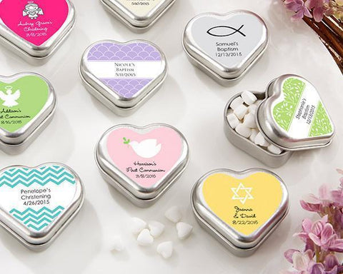 """Mint For You"" Brushed-Metal Heart-Shaped Mint Tin - Religious-Jubilee Favors"