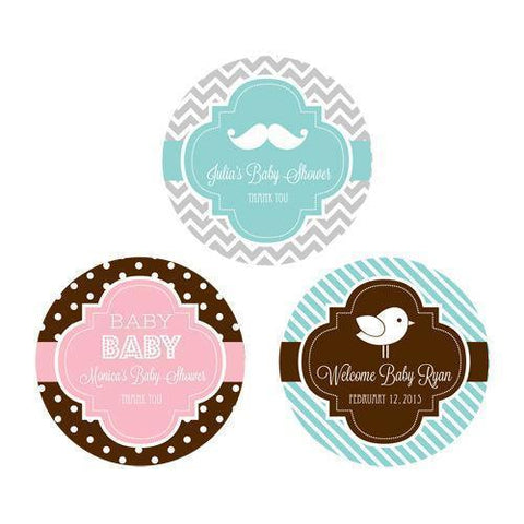 MOD Baby Silhouette Personalized Round Favor Labels-Jubilee Favors