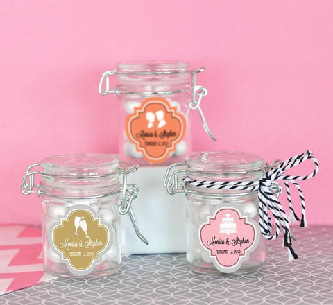 Mod Pattern Theme Personalized Glass Jar with Swing Top Lid - MINI-Jubilee Favors