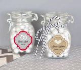 Mod Wedding Personalized Glass Jar with Swing Top Lid - SMALL-Jubilee Favors