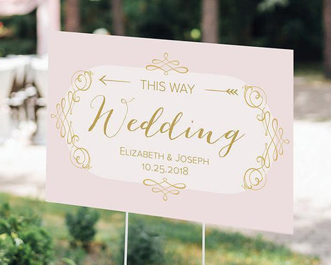 Modern Romance Personalized Directional Sign (18x12)-Jubilee Favors