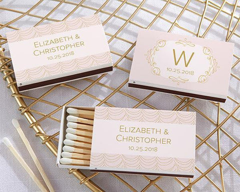 Modern Romance Personalized White Matchboxes (Set of 50)-Jubilee Favors