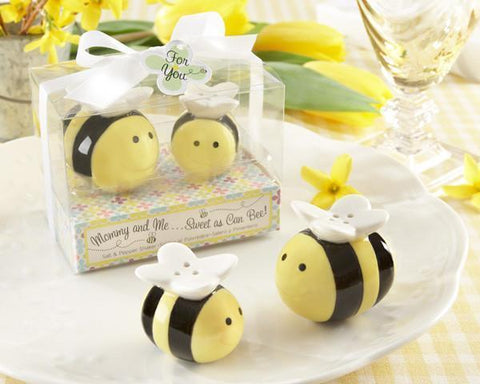 """Mommy and Me...Sweet as Can Bee"" Ceramic Honeybee Salt & Pepper Shakers-Jubilee Favors"