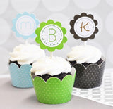 Monogram Cupcake Wrappers & Cupcake Toppers (Set of 24)-Jubilee Favors