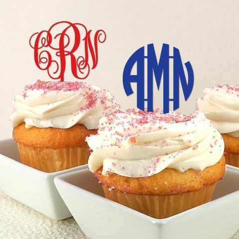 Monogram Initials Personalized Cupcake Topper (set of 12)-Jubilee Favors