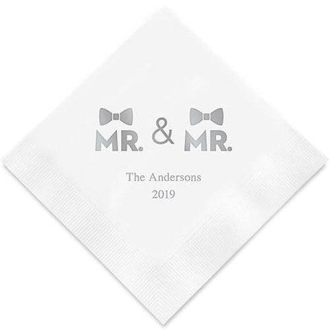 Mr. & Mr. Same Sex Double Bowtie Printed Napkins-Jubilee Favors