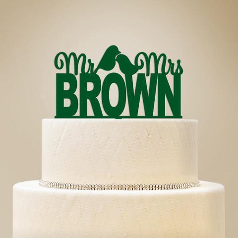 """Mr & Mrs"" with Icon Personalized Cake Topper-Jubilee Favors"
