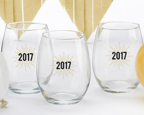 New Years 2017 15 oz. Stemless Wine Glass (Set of 4)-Jubilee Favors