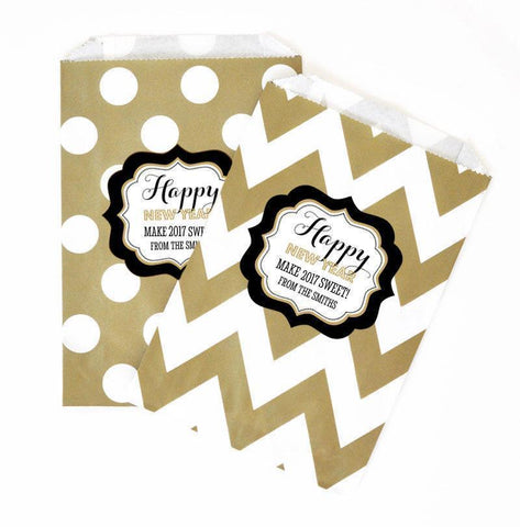 New Years Eve Party Chevron & Dots Personalized Goodie Bags (set of 12)-Jubilee Favors