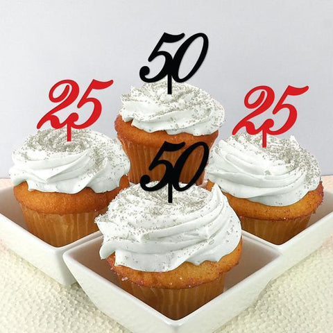 Number Personalized Cupcake Toppers (set of 12)-Jubilee Favors