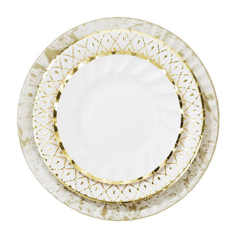 Party Porcelain Gold Trio Plate Pack-Jubilee Favors