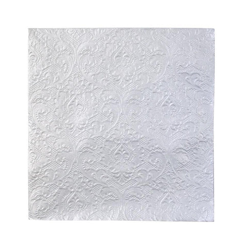 Party Porcelain Silver Embossed Napkins-Jubilee Favors
