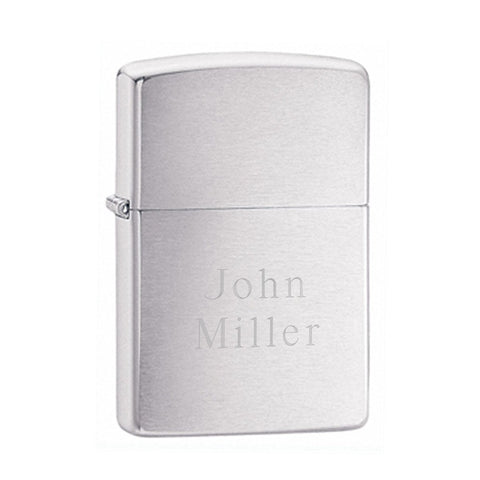Personalized Brushed Chrome Zippo Lighter-Jubilee Favors